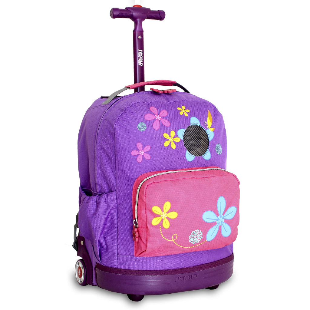 Aroma Kids 16-inch Rolling Backpack Purple Polyester Adjustable Strap Lined Water Resistant - Diamond Home USA