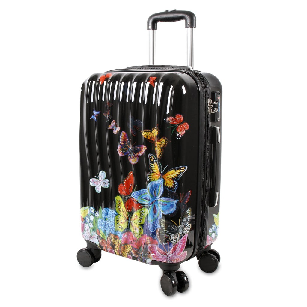 Black Color Girls Butterfly Theme Hardtop Luggage Butterflies Insect Bug Themed Pattern Upright Rolling Lightweight Hardside Hardshell Polycarbonate - Diamond Home USA