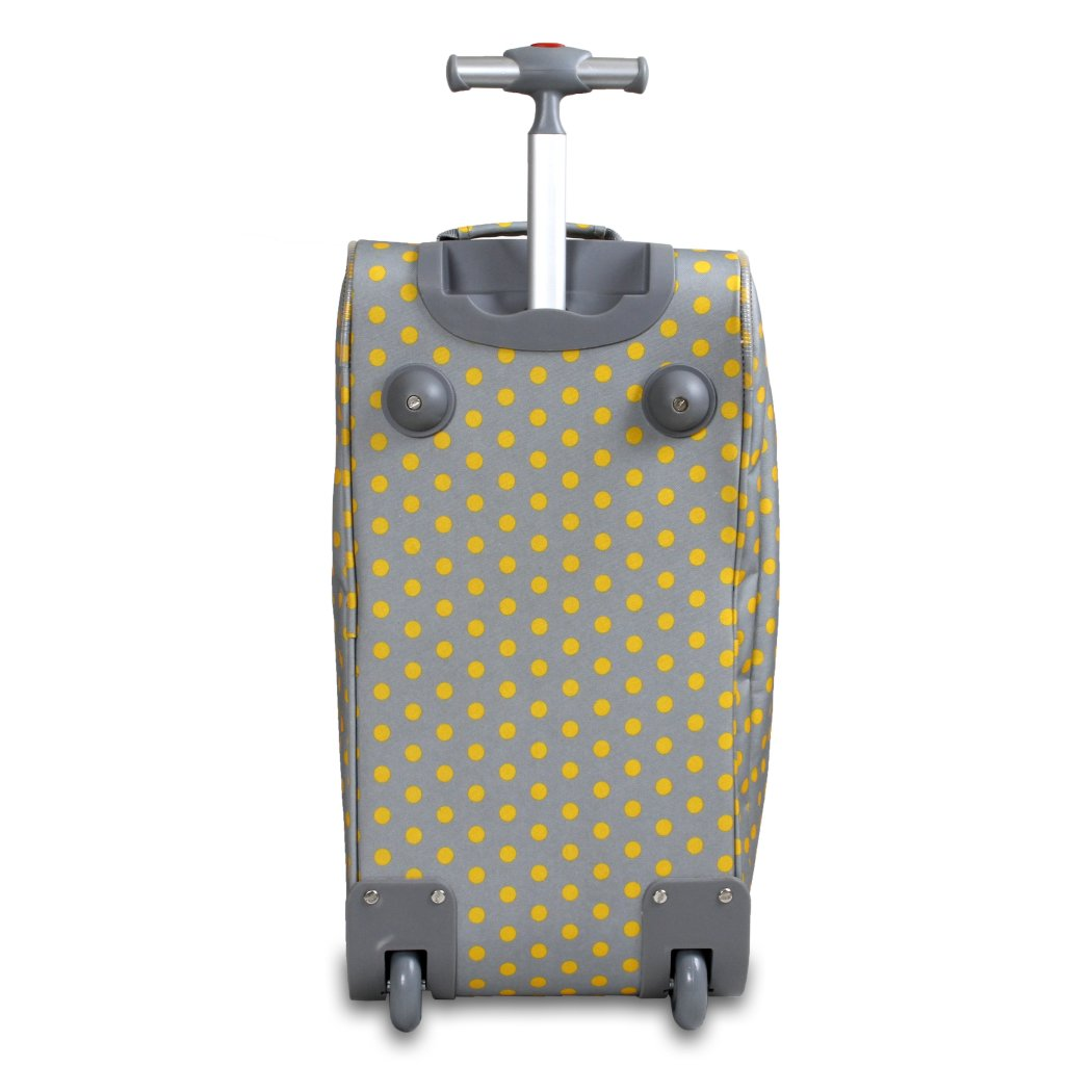 Grey Polka Dot Rolling Duffel Bag Fashion Carry Lined Polyester Adjustable Strap Telescoping Handle Plenty Space Attractive Perfect weekend road trip - Diamond Home USA
