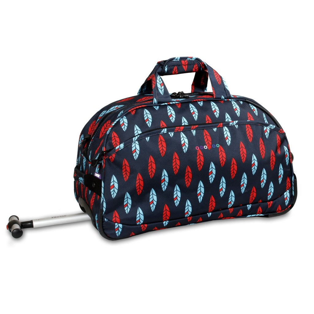 Red Blue Carry Rolling Duffle Bag Lined Graphic Pattern Polyester - Diamond Home USA
