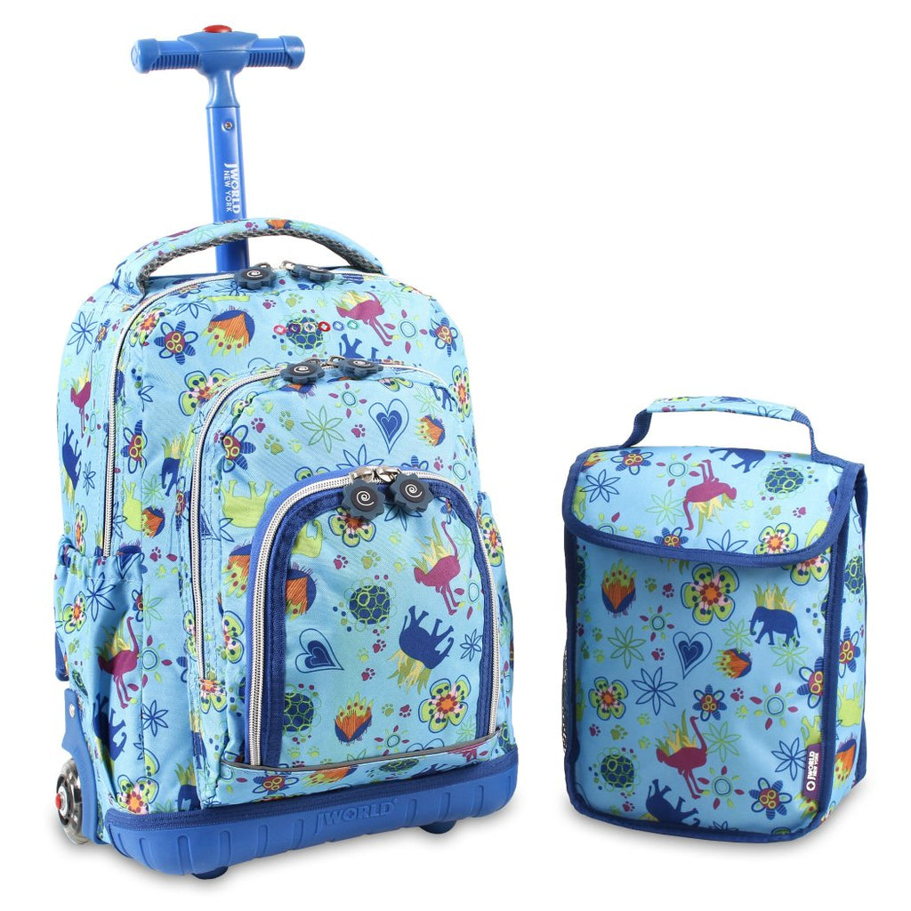 "Blue Jungle Lollipop Rolling Kids Backpack & Lunch Bag Set 16"" Animal - Diamond Home USA"