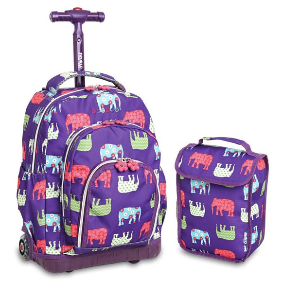 Girls Purple Elephant Backpack Flower Chevron Dots Plum Themed Elephants - Diamond Home USA