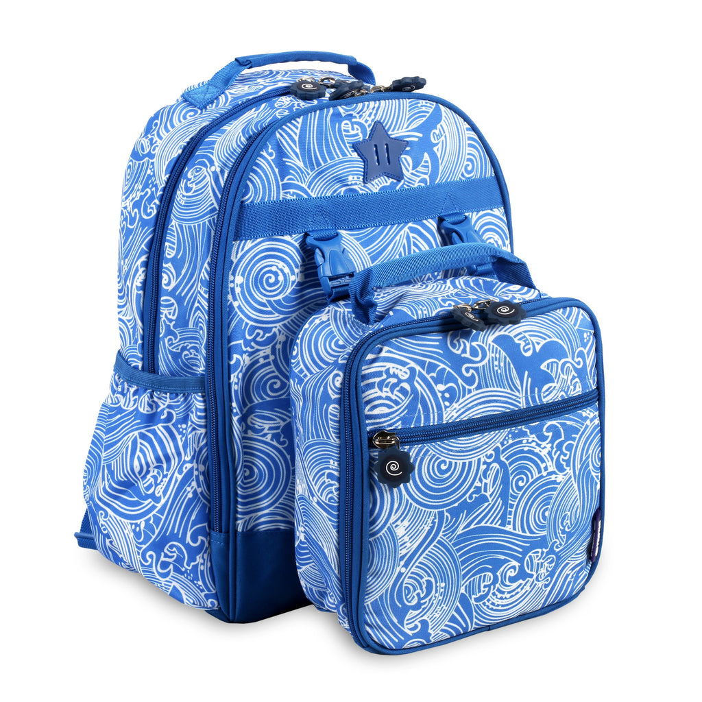 New York Duet Wave Kids Backpack and Lunch Bag Set Blue Graphic Polyester Multi-compartment - Diamond Home USA