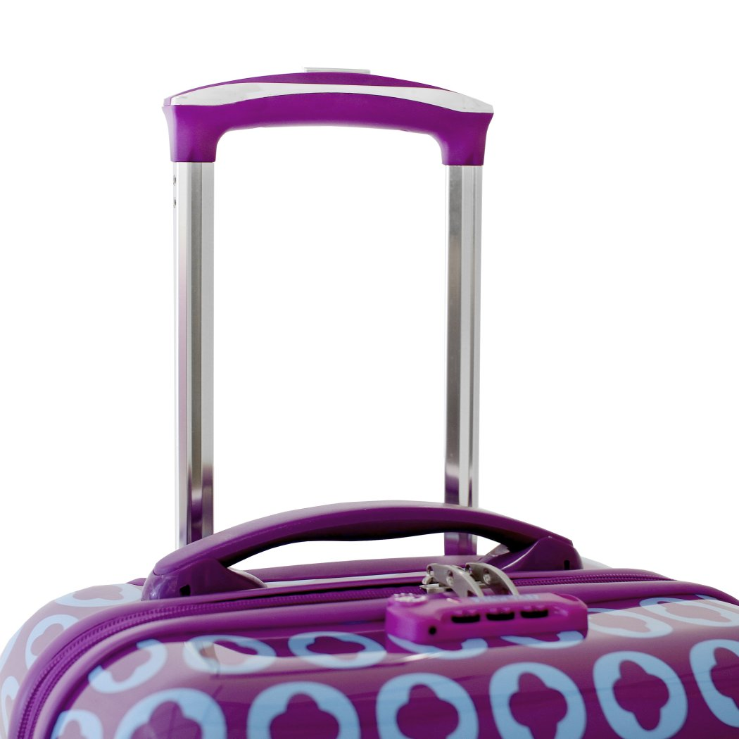 Purple Blue Floral Circle Theme Luggage Hardtop Hardside Roller Set Flower Geometric Themed Hard Top Side Carry Suitcase Rolling Upright Suitcase - Diamond Home USA