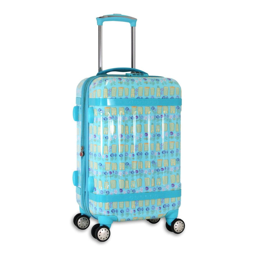 Light Blue Yellow Pink Purple Floral City Theme Luggage Hardtop Hardside Roller Set Spring Flower Building Themed Hard Top Side Hard Top Side Carry - Diamond Home USA