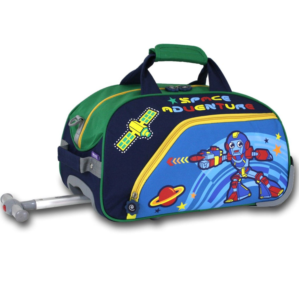Navy Light Blue Green Yellow Red Boys Robot Theme Rolling Duffel Bag Carry Kids Puter Space Adventure Planets Star Themed Suitcase Duffle - Diamond Home USA