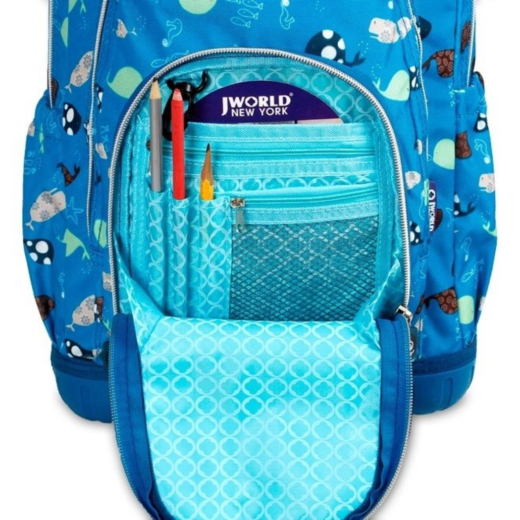 Blue Under Water Backpack Star Fish Whale Sea Life Aqua Themed Roller - Diamond Home USA