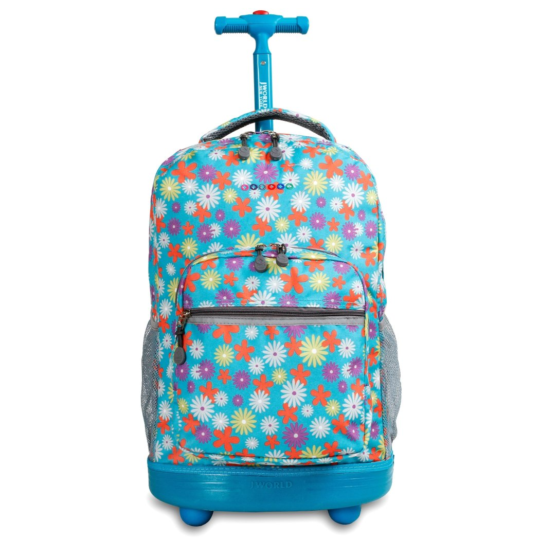 J World New York Sunrise Rolling Backpack Spring 18 Inch - Diamond Home USA