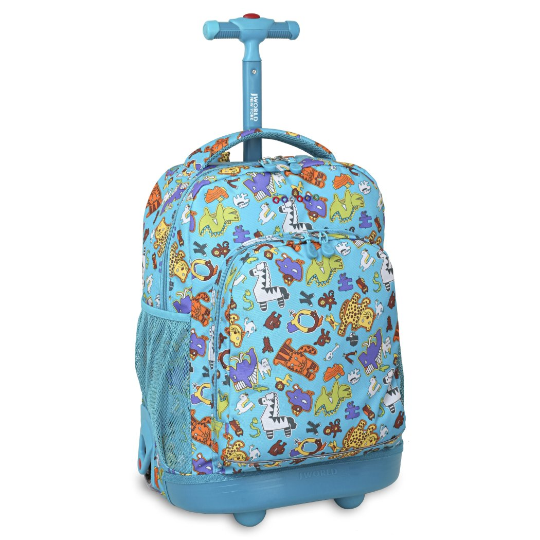 Multicolor Sunny Aniphabets Rolling Kids Backpack Character Pattern Plastic - Diamond Home USA