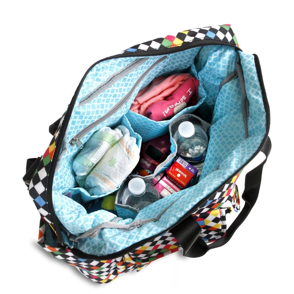 aec37a912a Girls Cross Checkered Pattern Carry Duffle Bag Rugby Plaid Duffel Sports  Check Theme Travel Luggage Handle