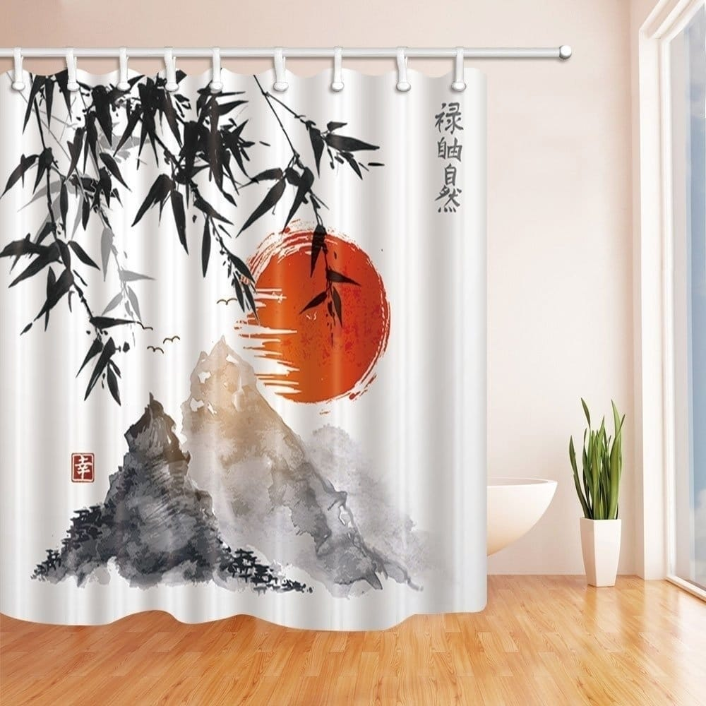 Japanese Bamboo Trees Sun and Mountains Bath Curtain Orange White Nature Modern Contemporary Polyester - Diamond Home USA