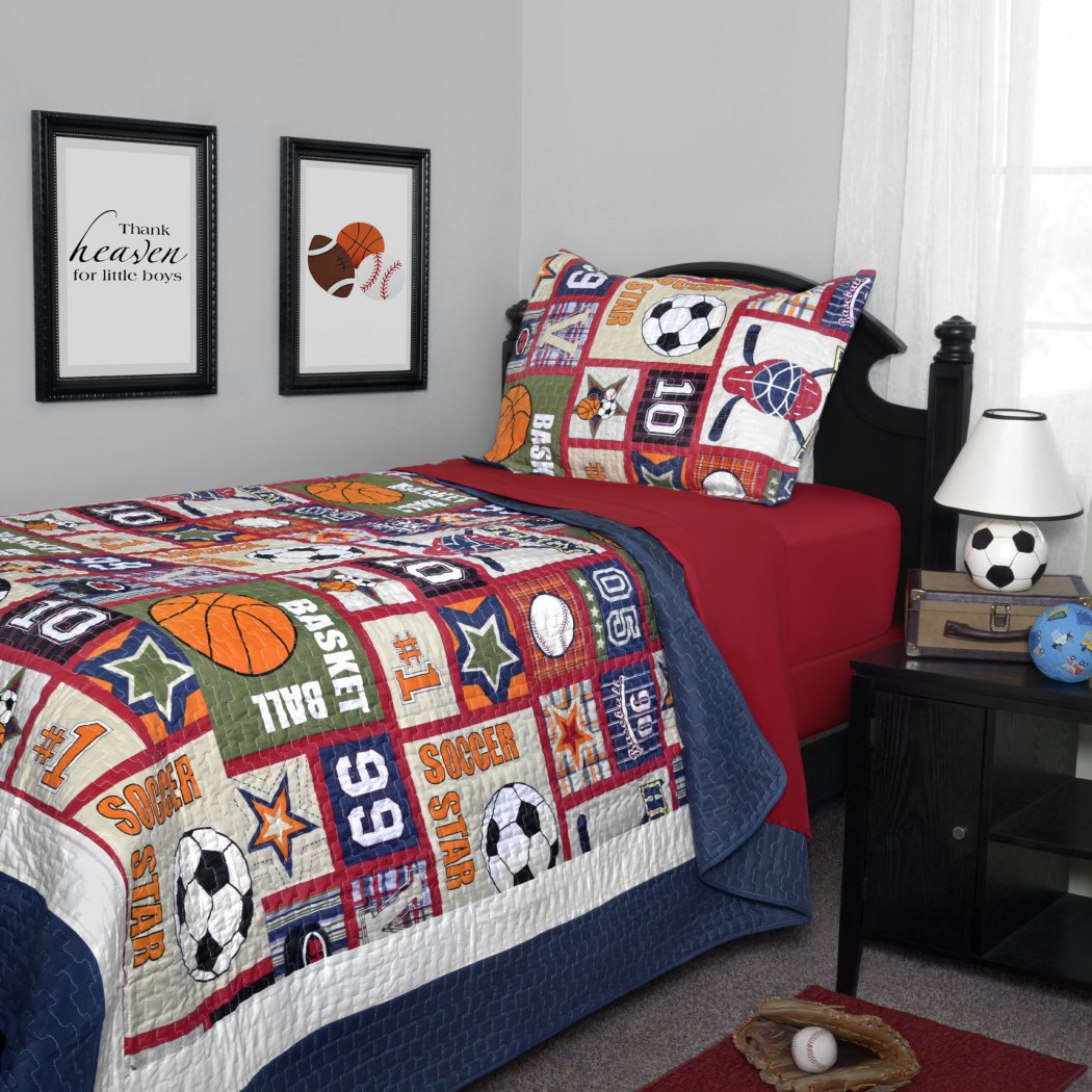 Boys Sports Quilt Twin Set Patchwork Sport Bedding Fun Balls Soccer Ball Basketball Baseball Hockey Themed Stylish Star Patch Work Score Pattern Blue - Diamond Home USA
