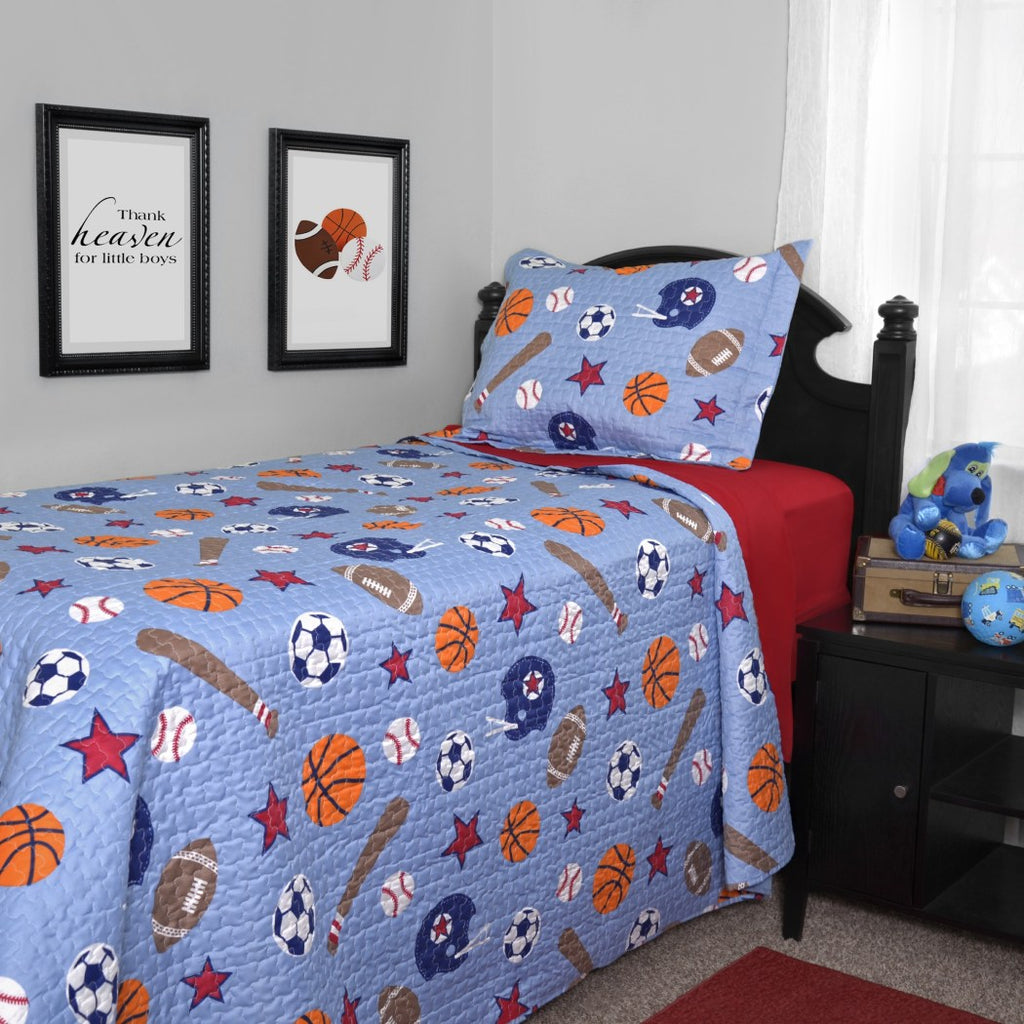 Blue Boys Sports Quilt Twin Set Kids Team Sport Star Bedding Stylish Football Helmet Baseball Bat Soccer Balls Basketball Themed Fun Stars Ball - Diamond Home USA