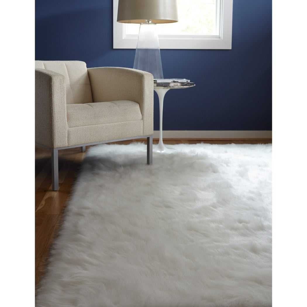 Faux Sheepskin Rug Soft White Area Shag Natural Plush 2 x 3 - Diamond Home USA