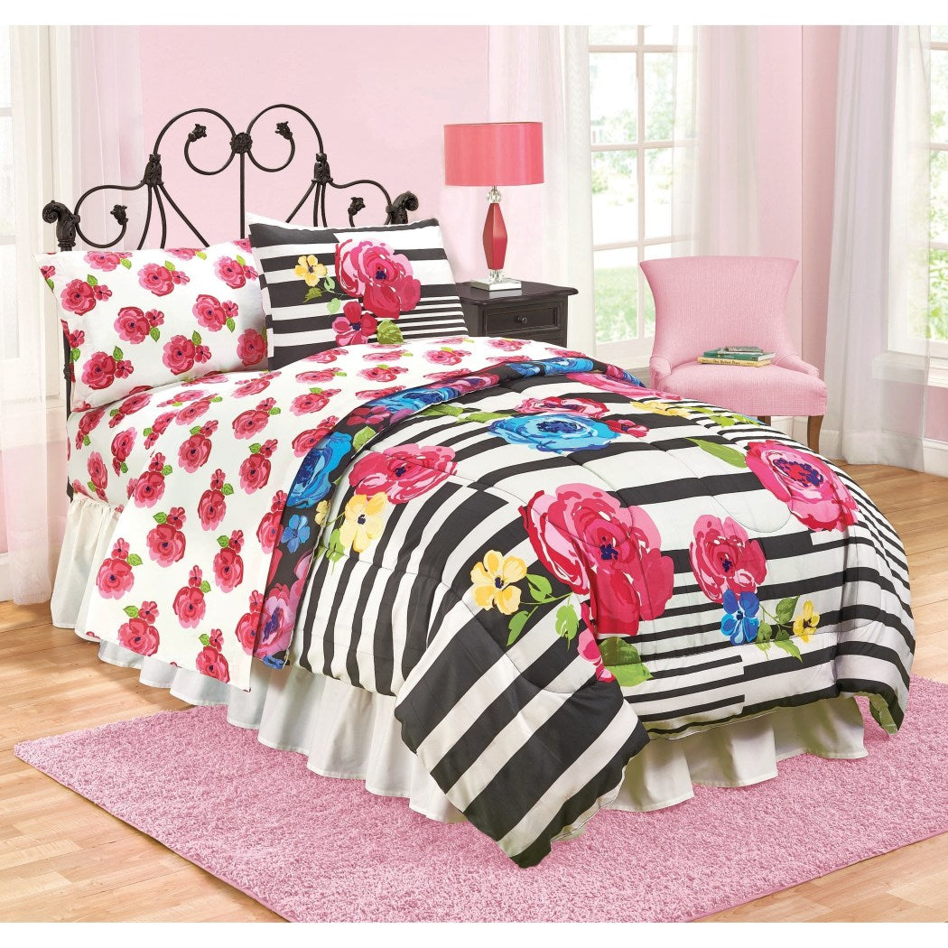 Girls Pink Blue Floral Pattern Comforter Full Size Lovely Whimsical Garden Flowers Fun Stripes Design Background Soft Cozy Bedding Bold Colors Polyester - Diamond Home USA