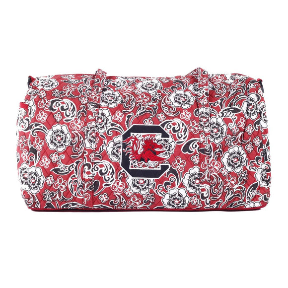 Red Xtra Large Duffle Bag 22 inch Large Duffle Bag Paisley Flower Sports Pattern Compartment Feature Polyester Bright White Black - Diamond Home USA