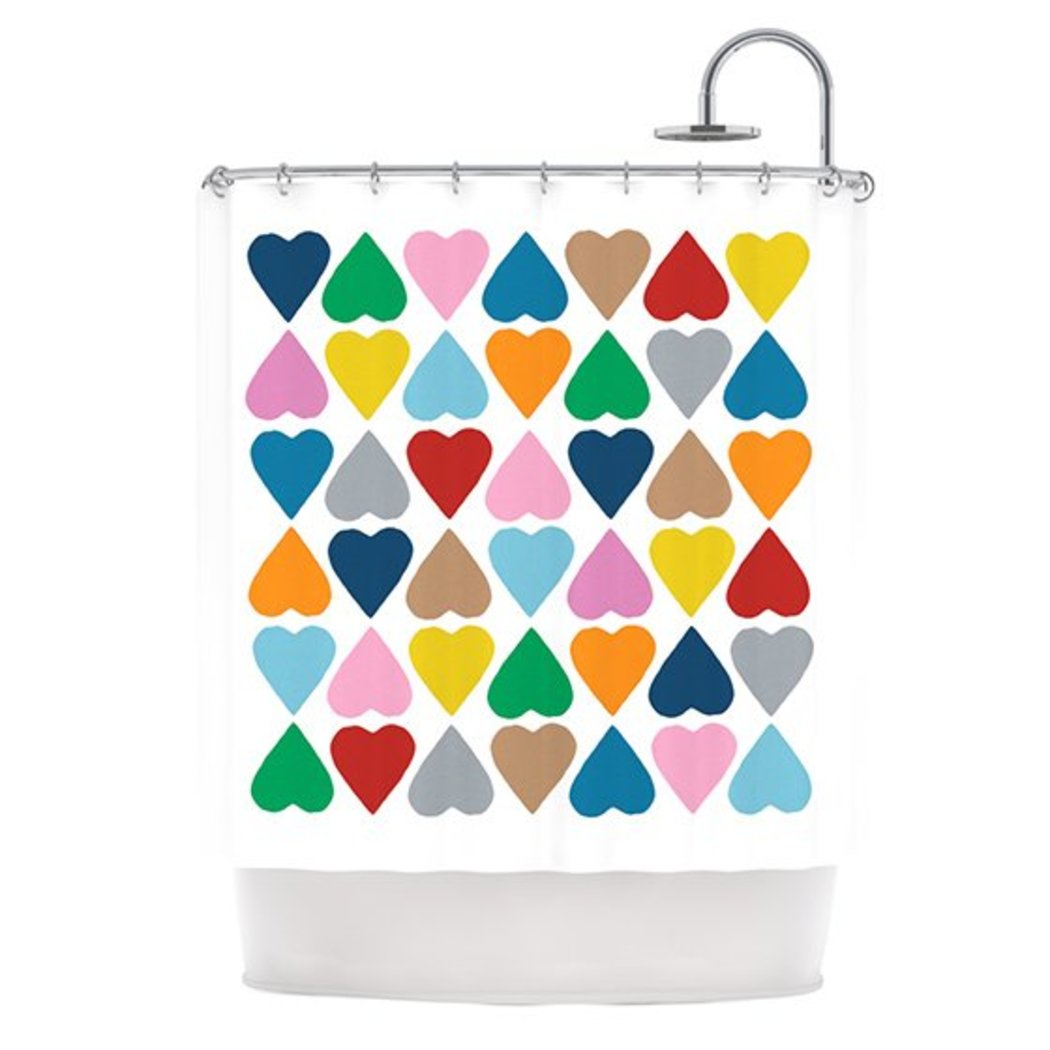 Kids Diamond Hearts Themed Shower Curtain Colorful Love Hearts Pattern Adorable Artistic Design Gorgeous Bright Colors Bathtub Curtain Blue Red Green - Diamond Home USA
