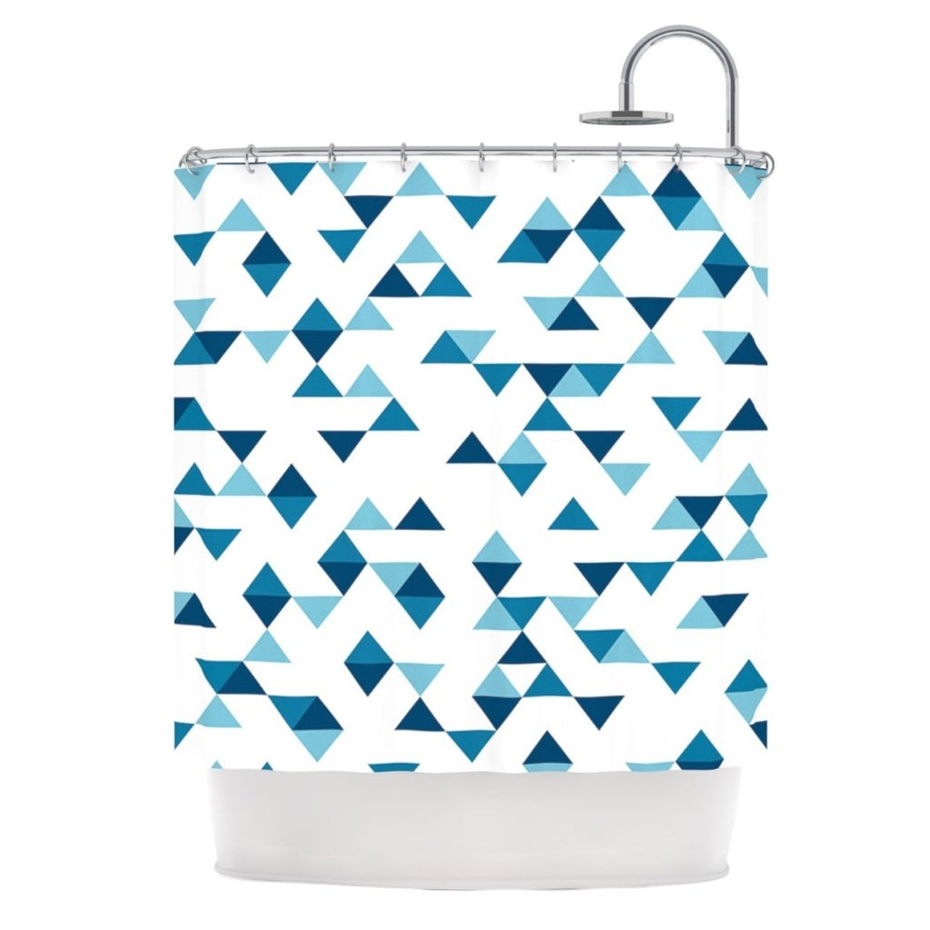 Kids Triangle Themed Shower Curtain Geometric Shape Pattern Adorable Artistic Textured Design Gorgeous Bright Colors Bathtub Curtain Blue Navy White - Diamond Home USA