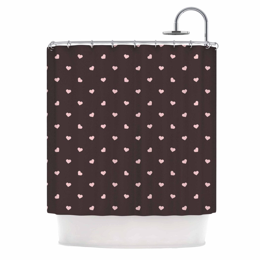 Girls Hearts Themed Shower Curtain Love Hearts Pattern Adorable Pretty Artistic Design Gorgeous Abstract Colors Bathtub Curtain Black Pink Polyester - Diamond Home USA