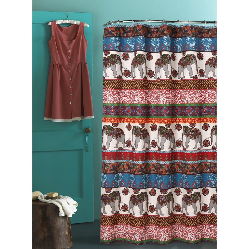 Red Blue Brown Graphic Art Themed Shower Curtain Polyester Detailed Colorful Tribal Elephant Printed Abstract Graphical Pattern Modern Elegant Design - Diamond Home USA