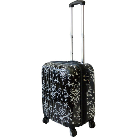 6e0a76422e Girls Damask Floral Themed Wheeled Upright Rolling Suitcase Luxury Motif  Flowers Printed Carry Travel Luggage Wheels Hardside Spinner Wheeling