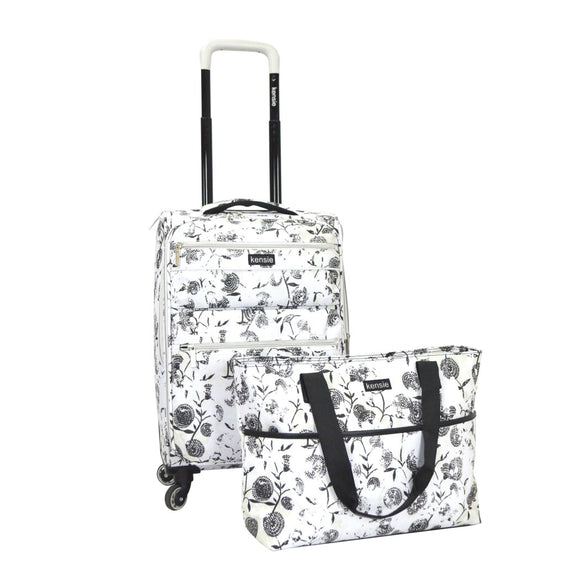 Girls White Floral Luggage Set Carry Rolling Suitcase Pretty Flower Pattern - Diamond Home USA