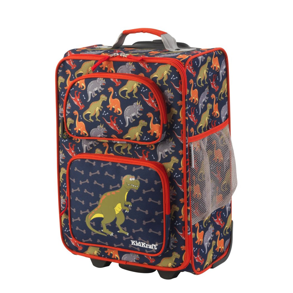 Boys Blue Dinosaur Themed Carry Suitcase Kids Dino Bone T Rex Luggage - Diamond Home USA
