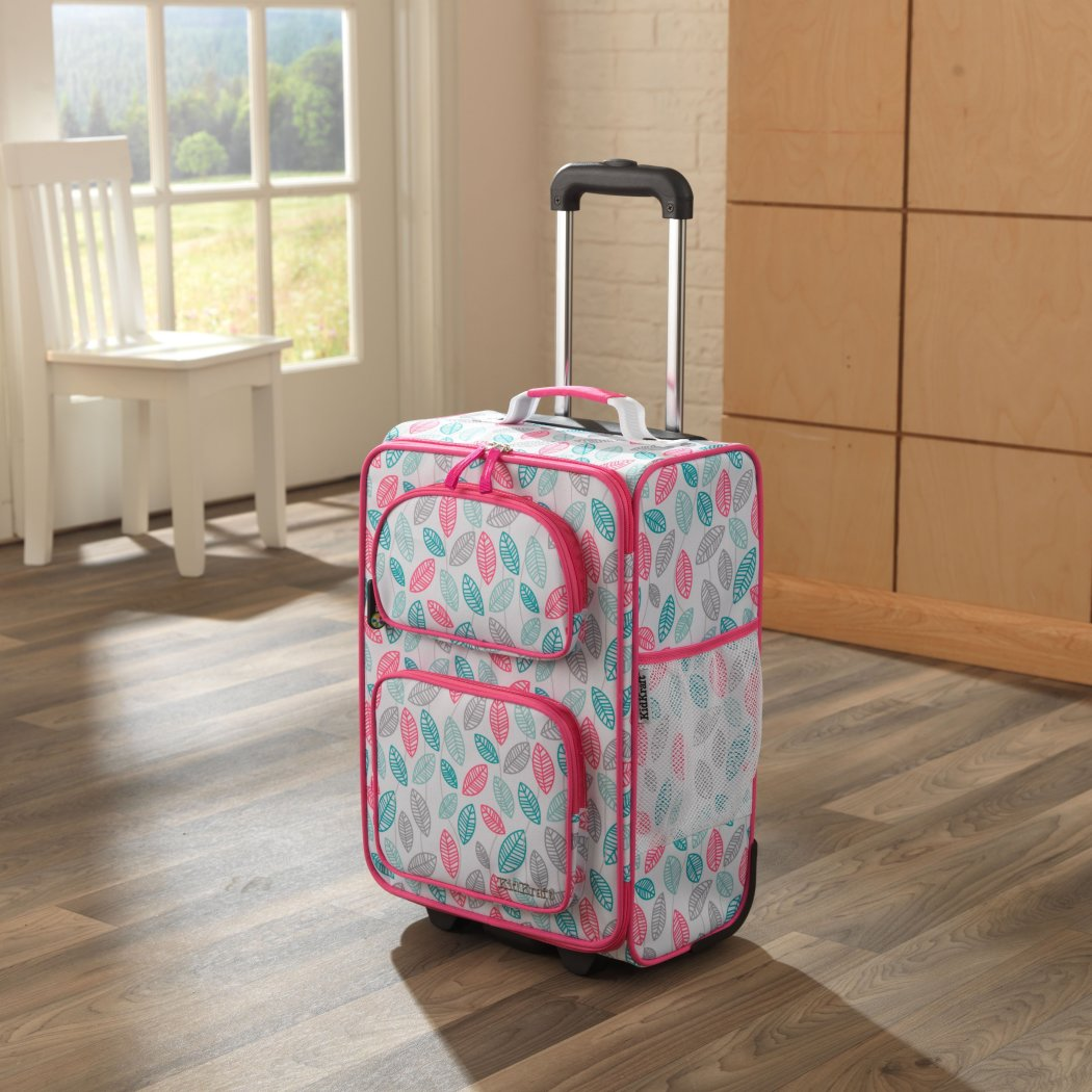 Girls Pink Leaf Themed Carry Suitcase Grey Blue Leaves Kids Luggage - Diamond Home USA