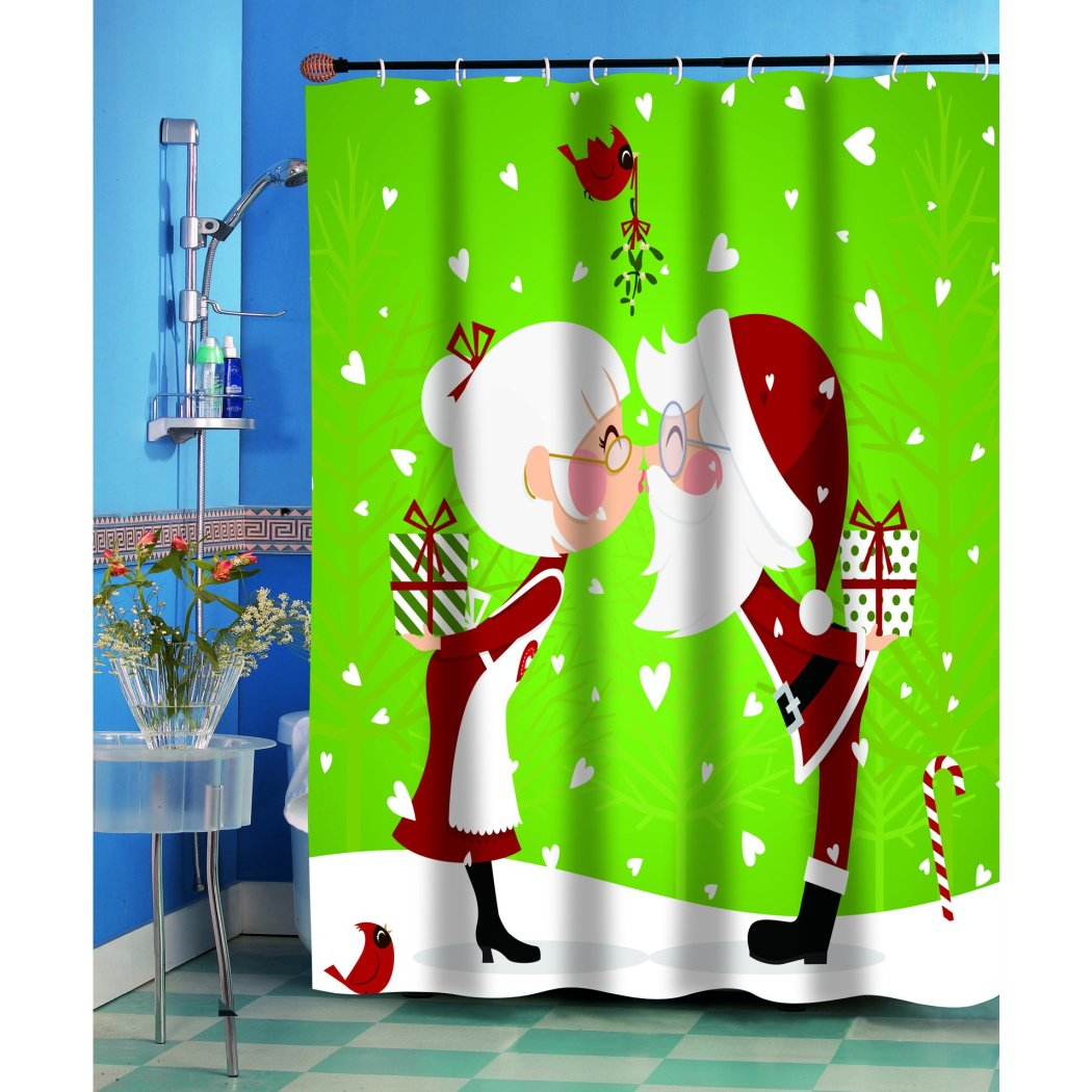 Kids Lime Green Red Graphic Art Themed Shower Curtain Polyester Detailed Colorful Santa Claus Printed Abstract Graphical Pattern Modern Elegant Design - Diamond Home USA