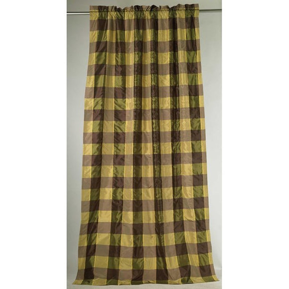 Check Handmade Faux Silk Taffeta Window Curtain Single Panel Fabrics Window Treatment Lined Contemporary Modern Classic