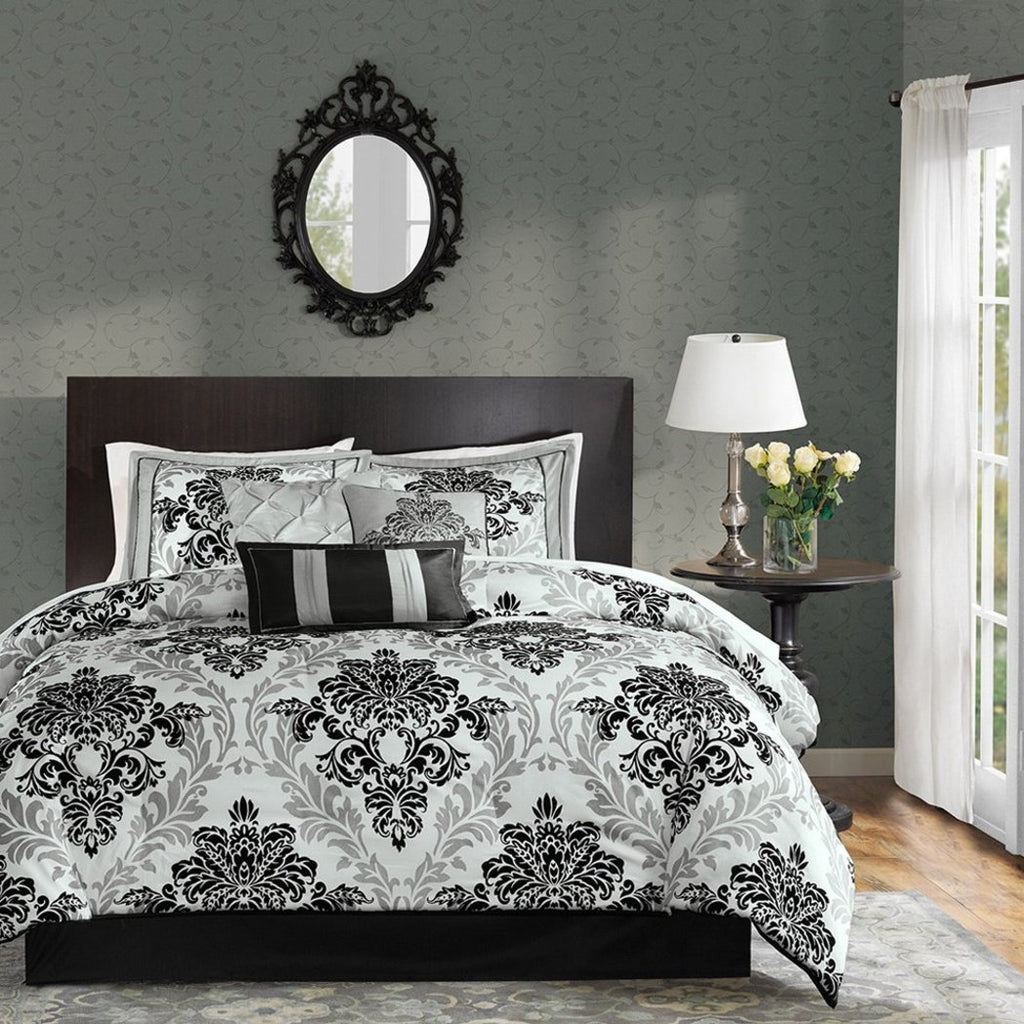 Damask Comforter Set Floral Bedding Medallion Geometric Pattern Bed Bag Master Bedroom Boho Chic