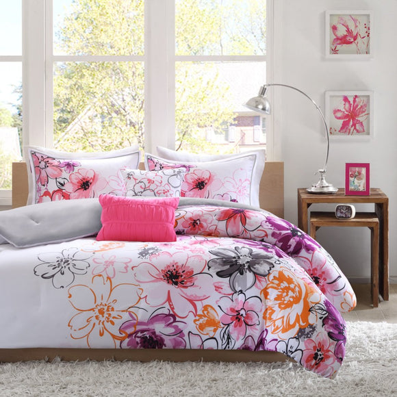 Girls Whimsical Floral Pattern Comforter Set Elegant Large Scale Garden Flowers Bedding Features Hypoallergenic Soft