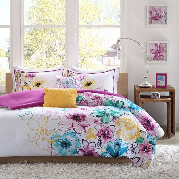 Floral Comforter Set Vibrant Flowers Nature Cottage Lake House Lily Spring Theme Shabby Chic Gorgeous
