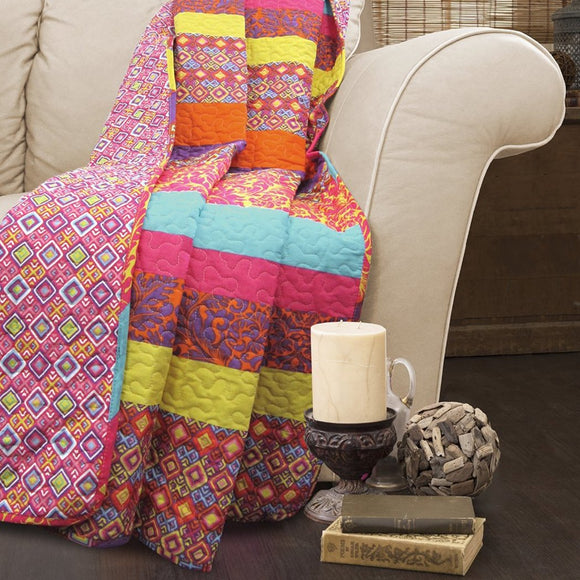 Girls Bohemian Throw Blanket Geometric Motif Square Lattice Design Cabana Striped Boho Plain Weave Quilted Kids Cotton