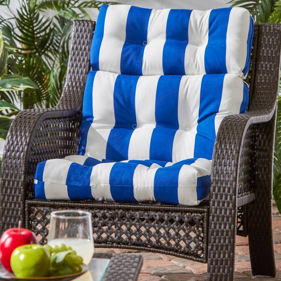 Outdoor Cabana Stripe High Back Chair Cushion Soft Plush Pillow Ties Anchor Securely Durable Easy Care Tough Polyester Horizontal Stripes
