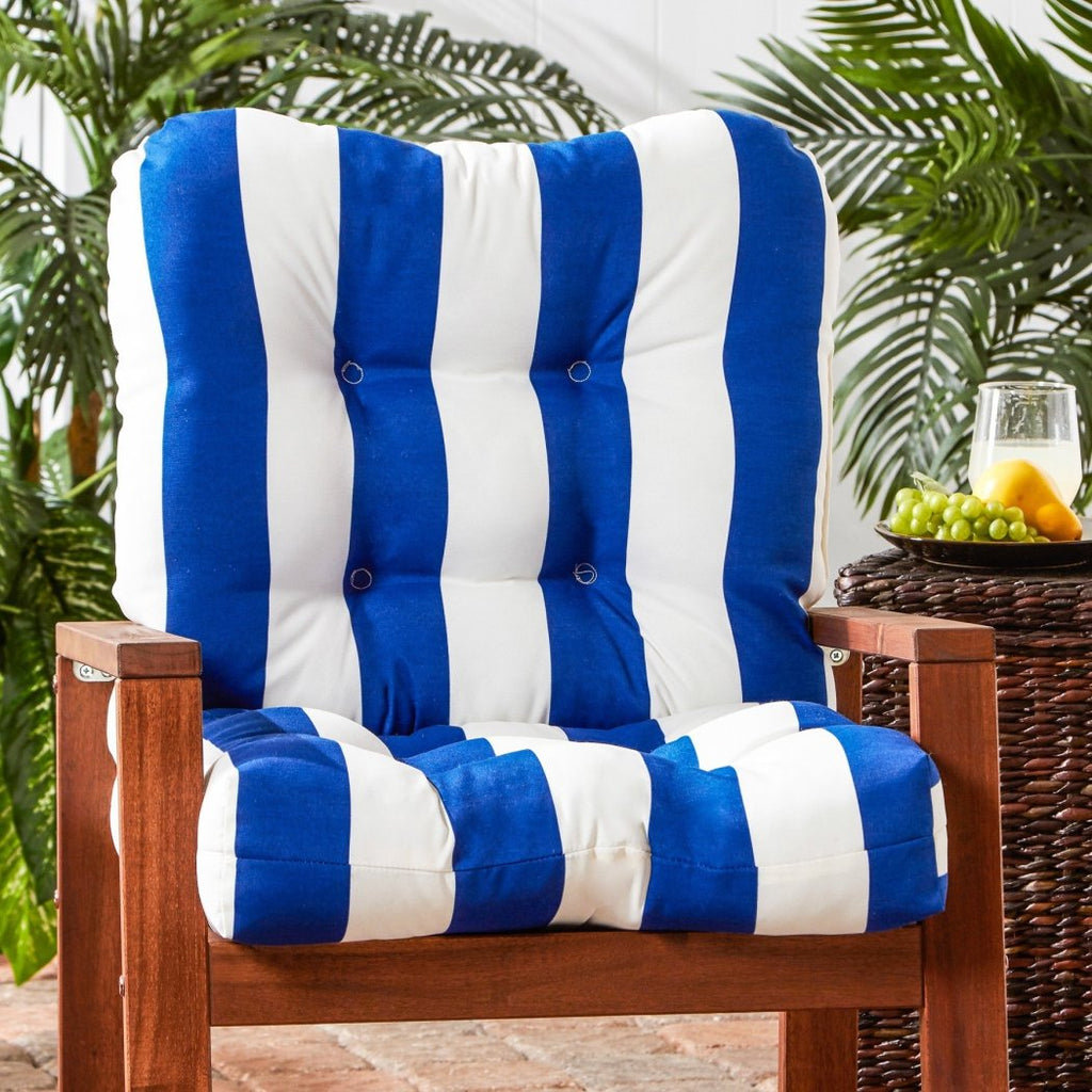 Outdoor Cabana Stripe Chair Cushion Soft Plush Thick Button Tufted Upholstery Pillow Ties Anchor Securely Tough Polyester Horizontal