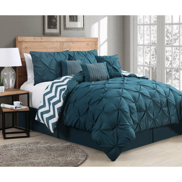 Regal Pinched Pleat Pattern Comforter Set Adult Bedding Master Bedroom Modern Elegant Puckered Pintuck Pinch Pleated Tufted Texture