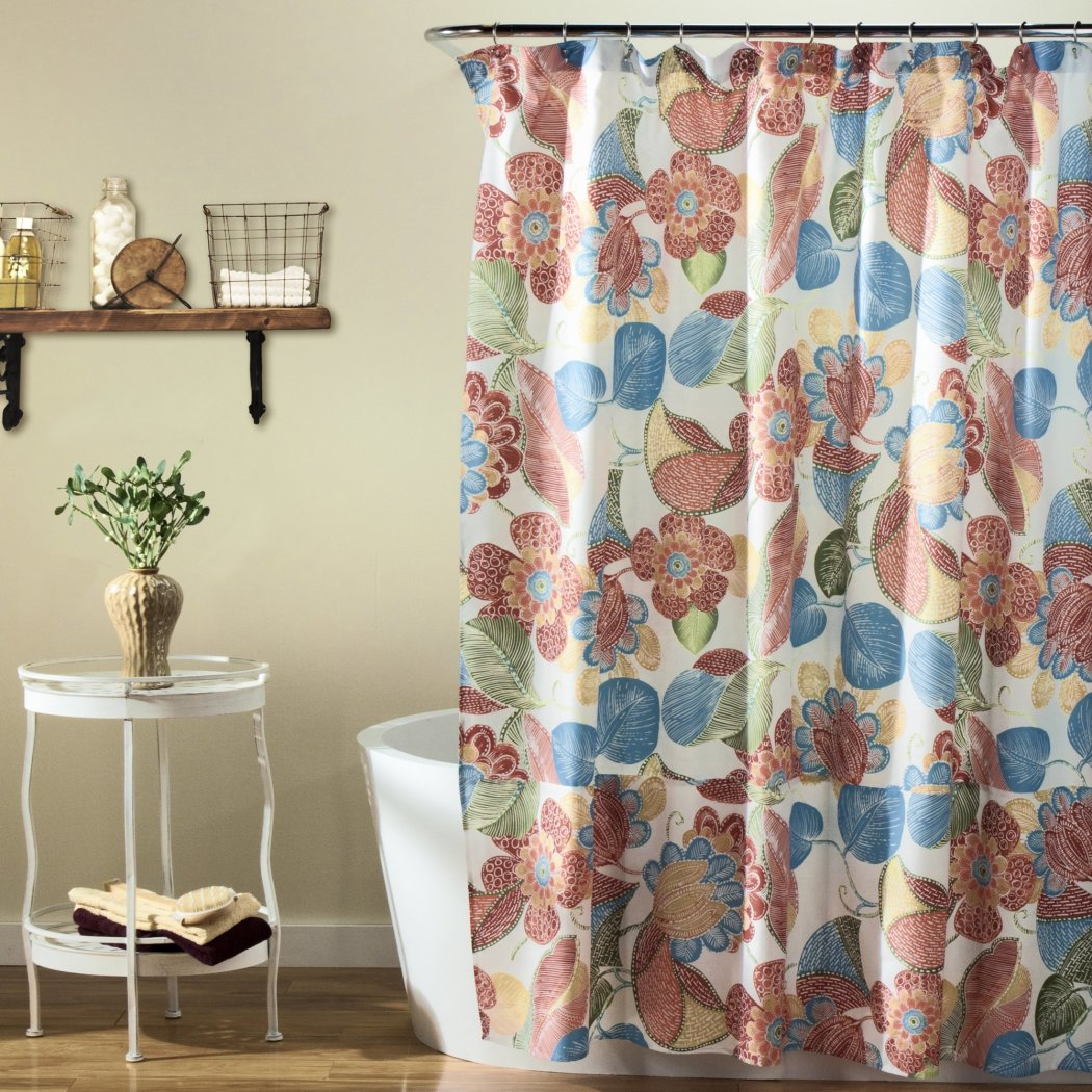 Red Blue Green Graphical Nature Themed Shower Curtain Polyester Lightweight Detailed Flower Leaf Printed Abstract Floral Pattern Classic Elegant - Diamond Home USA