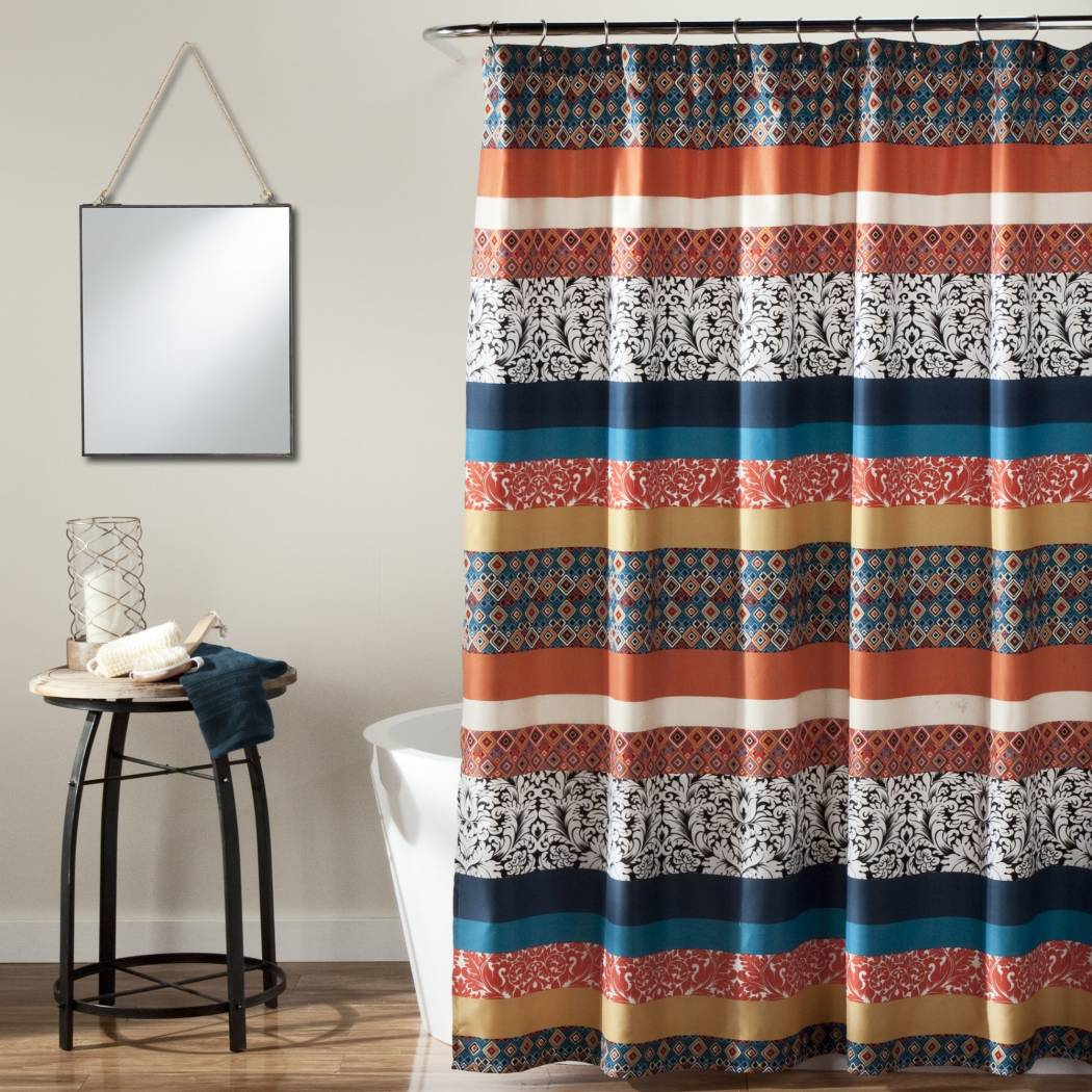 Color Striped Bohemian Floral Themed Shower Curtain Geometric Pattern Grey Orange Elegant Design Polyester Colorful Bohemian Flowers Printed Detailed - Diamond Home USA