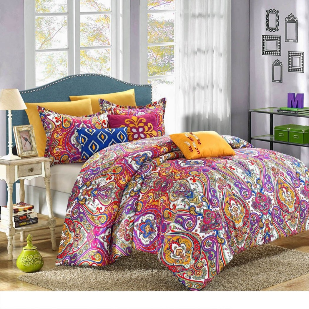 Damask Floral Pattern Comforter Set Luxurious Large Scale Rich Bohemian Motif Design Boho Chic Indian Bedding Vibrant Cotton
