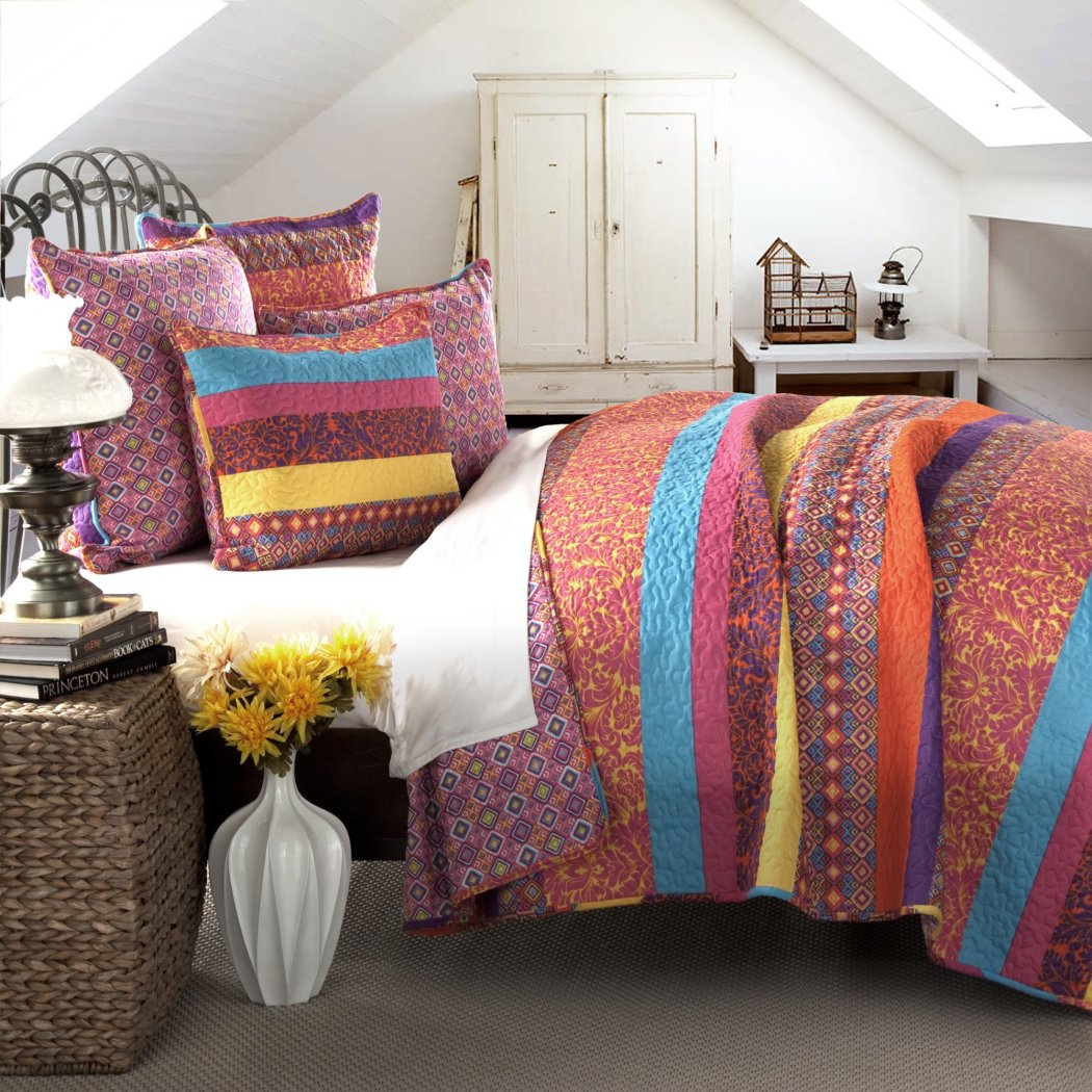 ful Boho Stripe Quilt Set Striped Bedding Bohemian Florals Geometric Vibrant Jeweled Ikat
