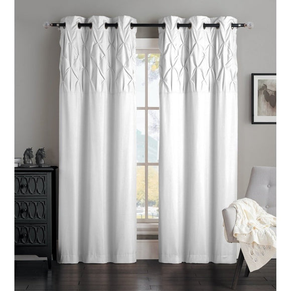 Girls Diamond Pleated Design Curtain Panel Window Drapes Kids Themed Grommet Ring Top Playful Luxurious Microfiber
