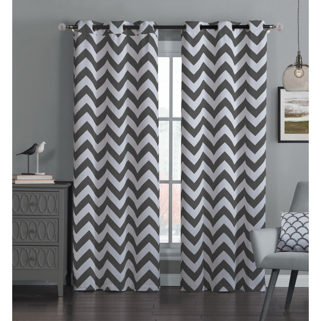 Off Chevron Window Curtain Set Zig Zag Panels Pair V Shaped Pattern Stripe Cloud Colour Vibrant Modern Contemporary Casual