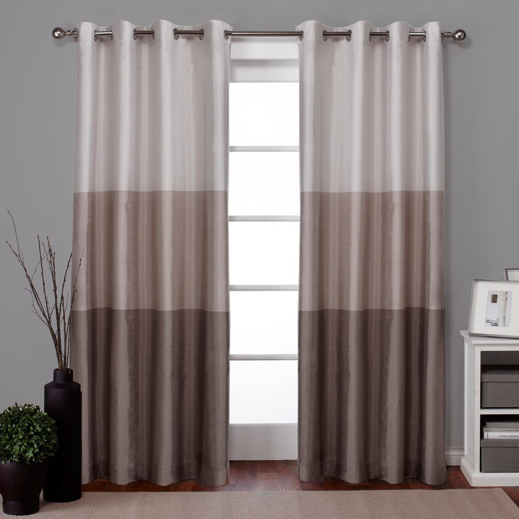 Gradient Block Pattern Window Curtain Set Pair Panels Three Toned Colour Shades Bold Stripes Classic