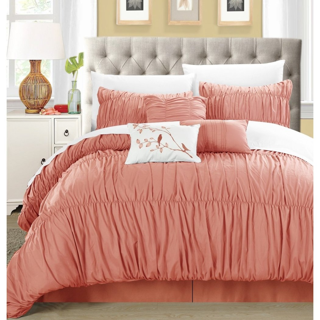Girls Pleated Ruffled Comforter Set Textured Bedding Set