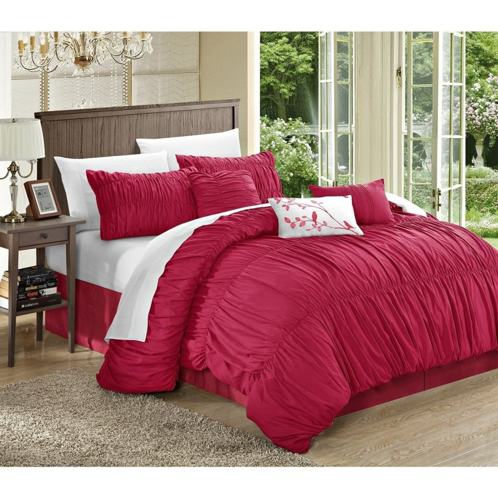 Gypsy Ruffled Comforter Set Sheets Textured Pleated Bohemian Flowing Ruffles Pattern Layered Overlapping Gypsies Hippie