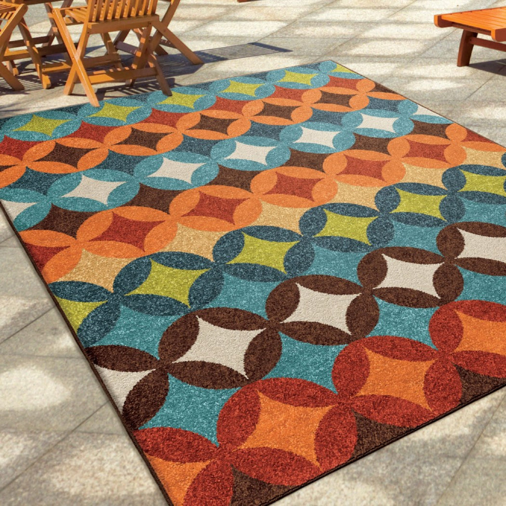 "Carolina Weavers Home Decor Indoor/Outdoor Geo Bancroft Area Rug (5'2"" x 7'6"") - Diamond Home USA"