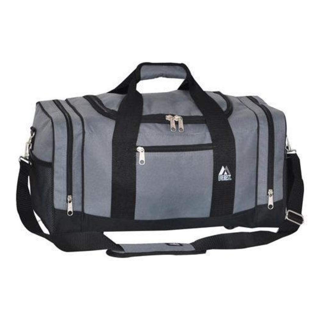 Grey Crossfit Gym Bag Sporty Duffle Backpack Sports Themed Black Medium Size - Diamond Home USA