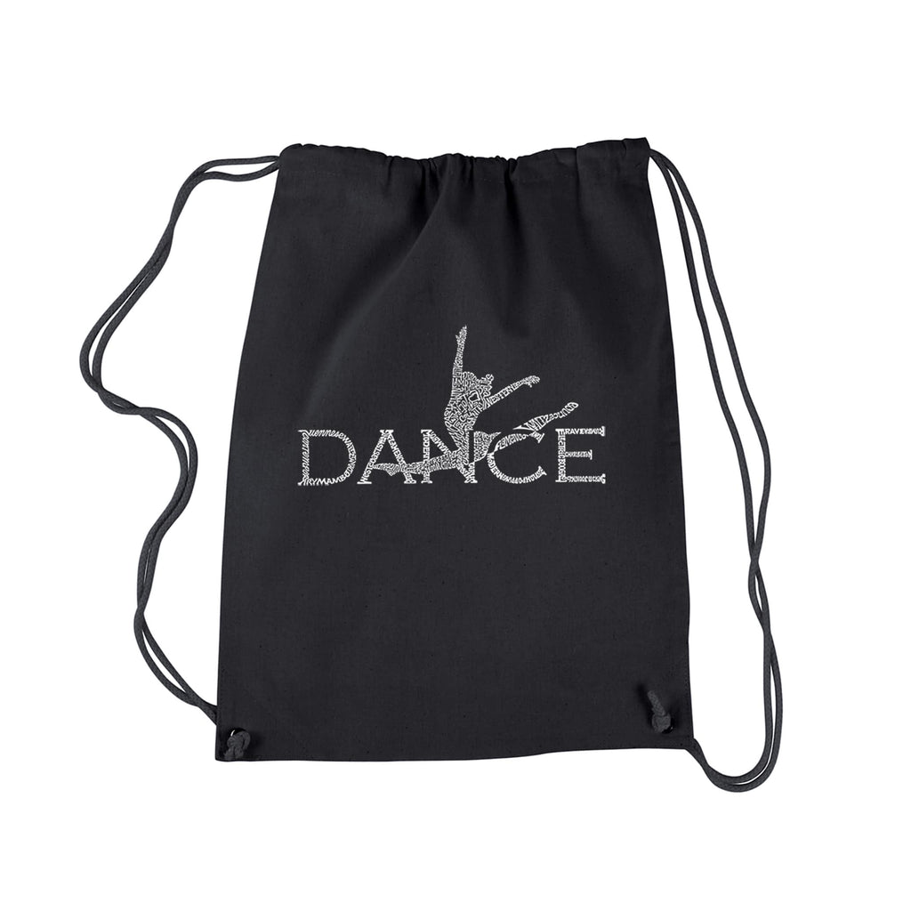 Los Angeles Dance Black Cotton Pop Art Drawstring Backpack Graphic Adjustable Strap - Diamond Home USA
