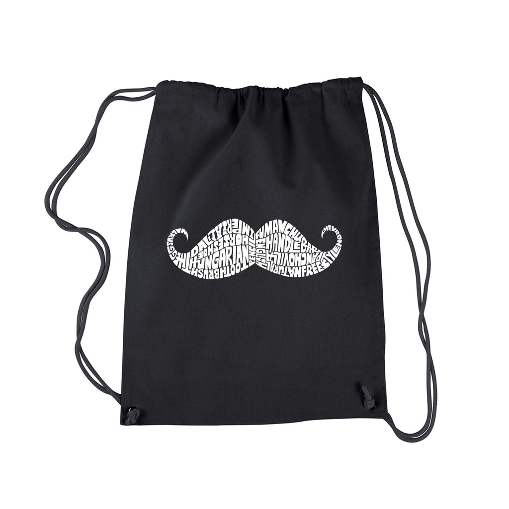 Ways to Style a Moustache' Drawstring Backpack Black Graphic Cotton Adjustable Strap - Diamond Home USA